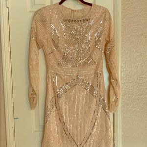 MINUET Pink Sequins Stretch Fitted Dress Cocktail